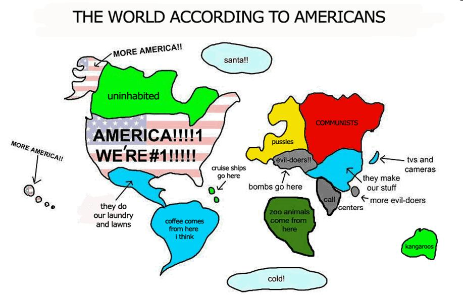 geography cartoon maps of America and of America\'s view of the world ...