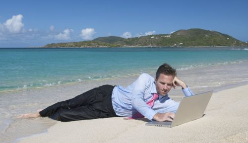 checking email on the beach or while on vacation ...