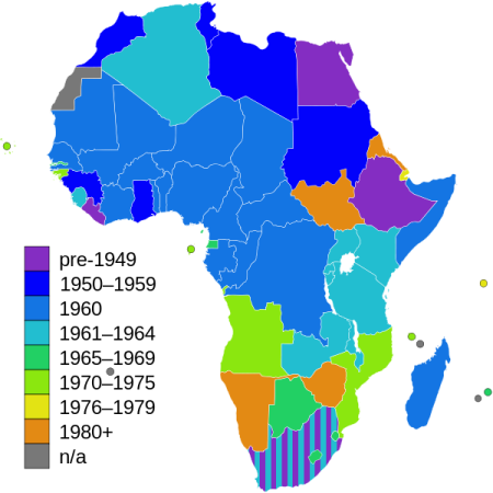 Decolonization Dates / Indedpendence Dates of African Countries